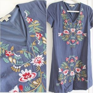 Navy Floral Embroidered Shift Dress